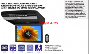 "AXIS 10.1"" MONITOR ROOF MOUNT DVD PLAYER"